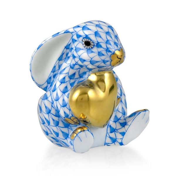Herend Figurine Bunny Rabbit with Heart Blue Fishnet