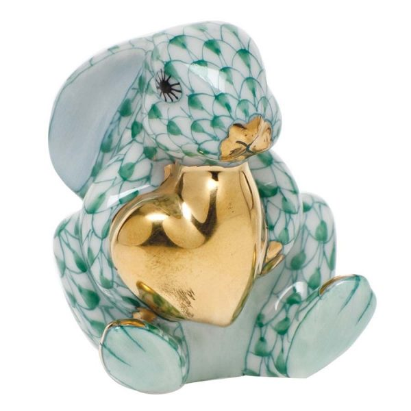 Herend Figurine Bunny Rabbit with Heart Green Fishnet