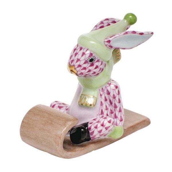 Herend Sledding Bunny - Fishnet Pink