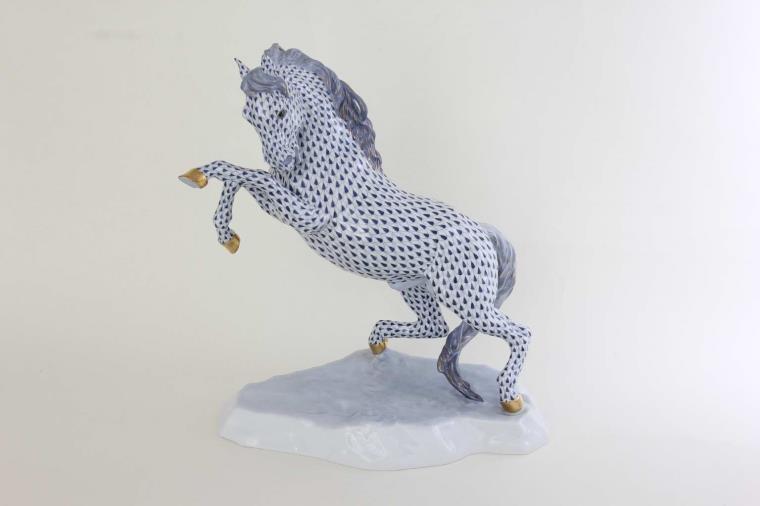 Herend Prancing Horse - Fishnet Fading Blue