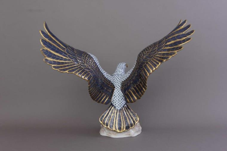 Herend Eagle Spread Wings- Fishnet Light Dark Blue