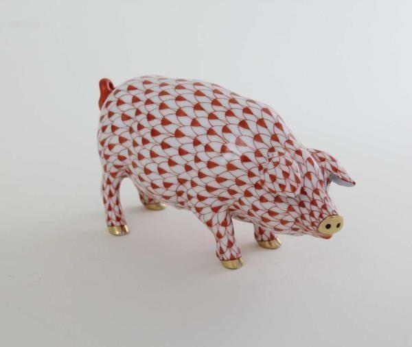 Herend Pig - Fishnet Rust