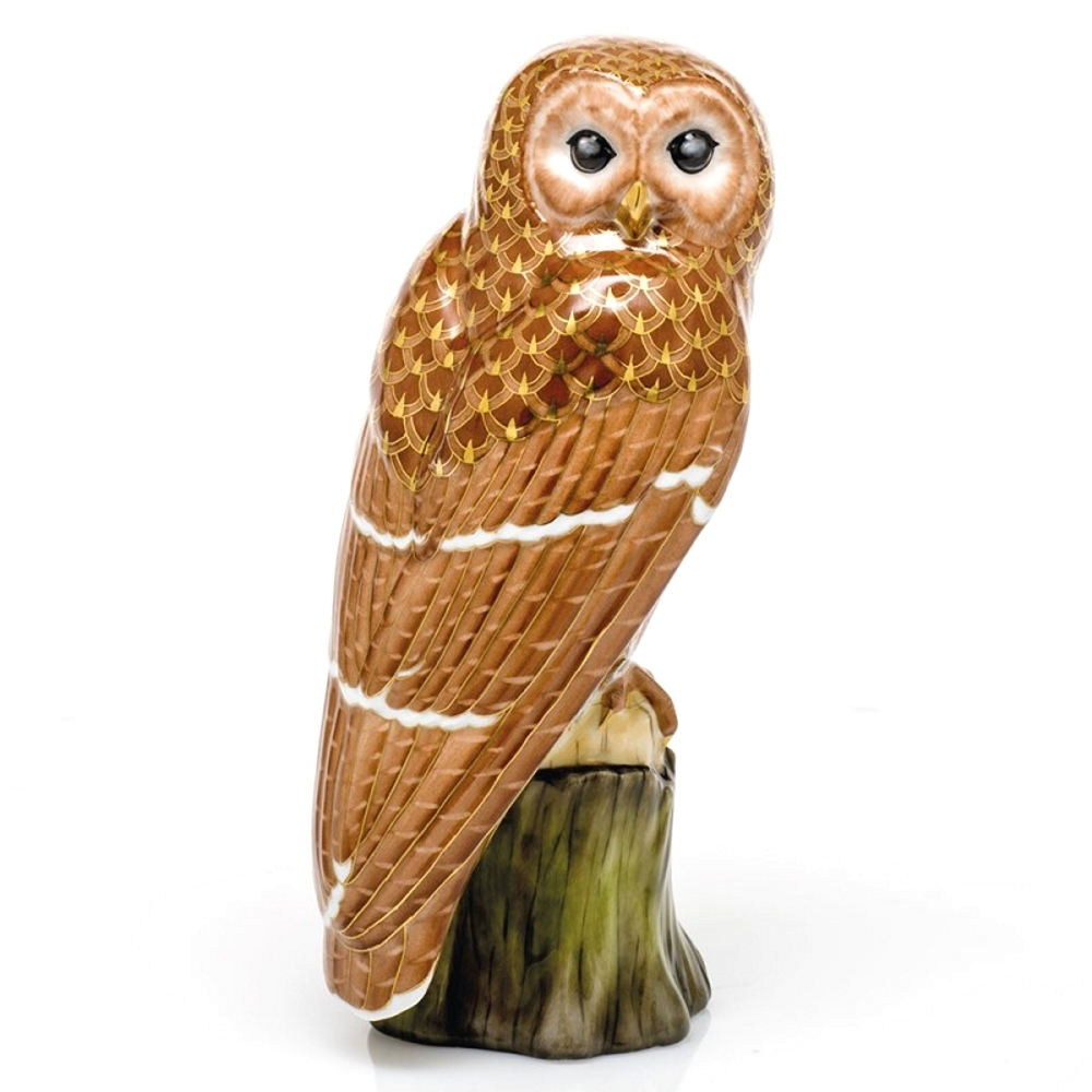 Herend Brown Barred Owl Figurine Reserve Collection - Limited Edition to 150 pcs.