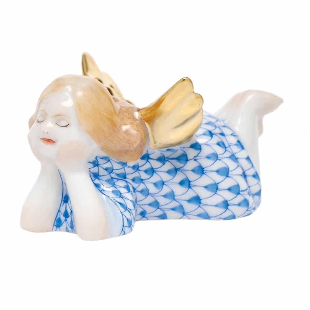 Herend Tranquility Lying Angel Figurine Blue Fishnet