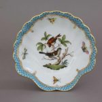 Herend Rothschild Bird Fishnet Turquoise Shell Dish