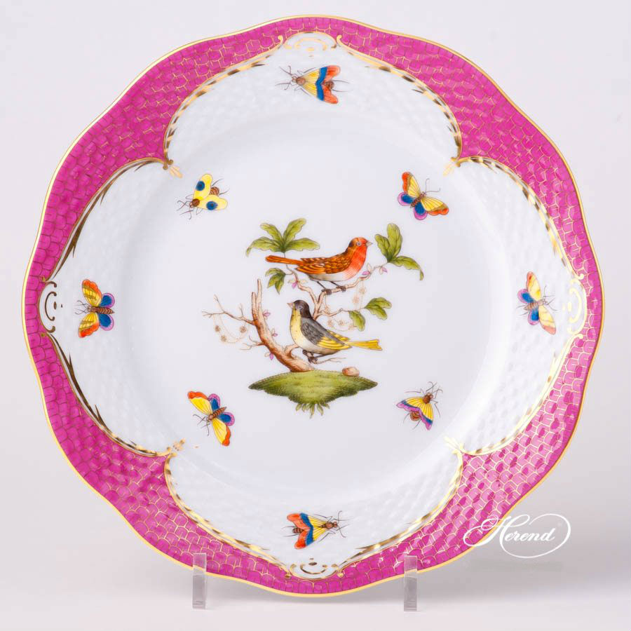Rothschild Bird Pink Full Fishnet - Dessert Plate - Handpainted with 24k Gold - Worldwide Shipping Available.
