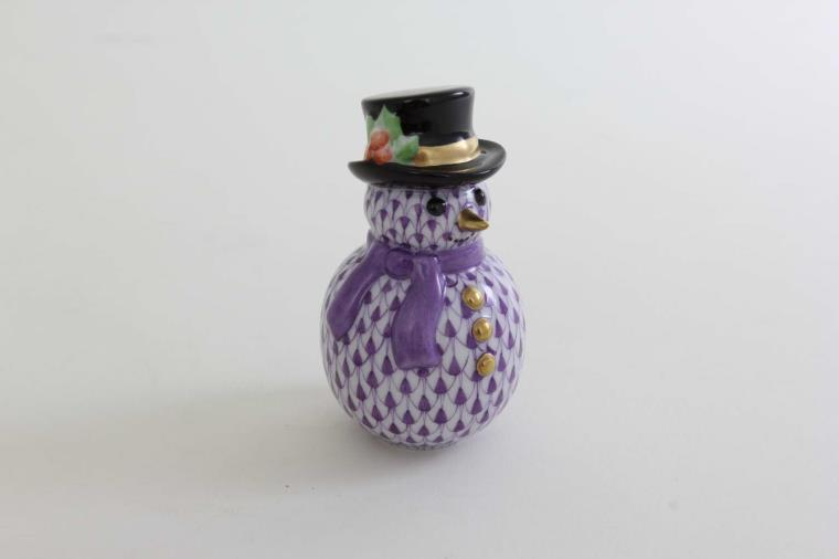 05290-0-00 VHL Herend Fishnet Purple Snowman Figurine