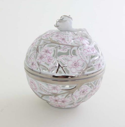 06214-0-09 CPTP Bonbon, open-work, rose knob - Platinum Pink Hand painted open work bonbon decorated with pink and platinum decoration. Perfect gift for any occasion. All Herend home decor pieces come with gift packaging and Certificate of Origin.