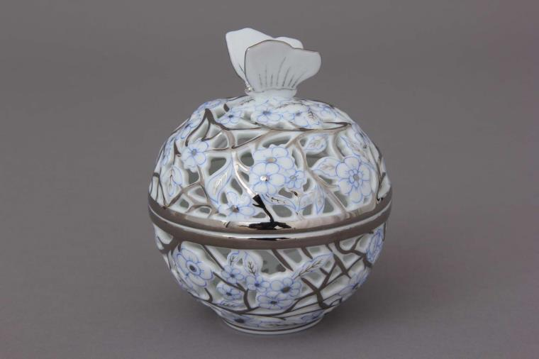 06214-0-17 CPTB Bonbonniere, open-work, Butterfly knob - Platinum Blue Hand cut and hand painted in Herend Porcelain Manufactory. Comes with gift packaging and certificate.