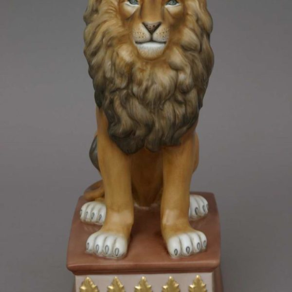 15225-0-00 MCD Lion on Pedestal - Matt Natural Herend Animal Figurine