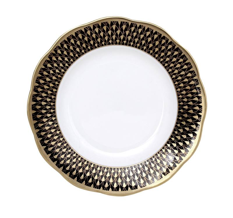 Herend Black Gold Fish Scale Dinner Plate