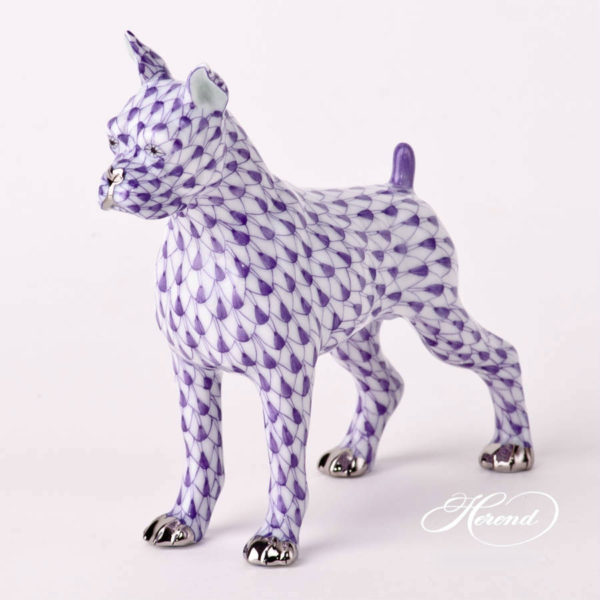 "Boxer Dog Animal Figurine Fishnet Purple Lilac Boxer dog Herend Animal figurine. Available with Fishnet Purple hand painted design Height: 11.3 cm (4.5""H)"