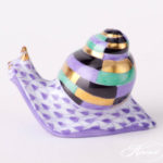 Baby Snail - Fishnet Purple - Lilac Small Snail is painted in Vieux Herend (VHL) Lilac Fish scale design.