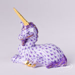 Lying Unicorn - Fishnet Purple Lilac Herend Canada presents your the iconic Unicorn figurine, whichis painted in Vieux Herend(VHL) Lilac fish scaledecor.