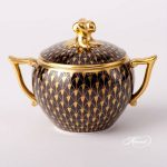 Herend Tea Set Black Gold Fish Scale