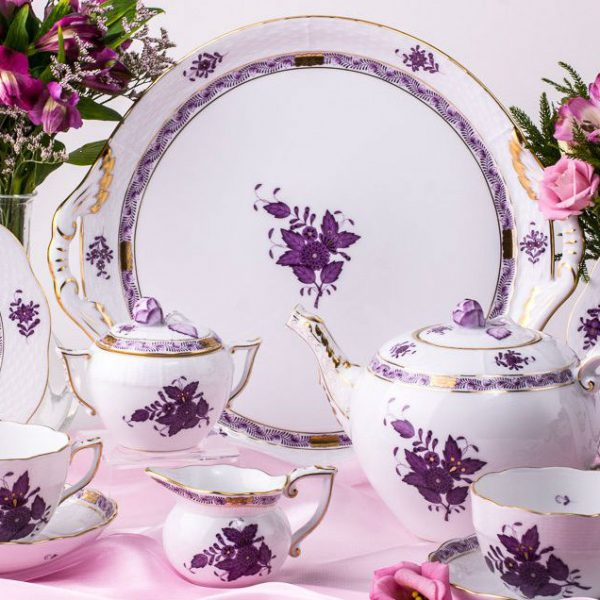 "Herend porcelain Tea Set for 2 Persons with Cake Plate - Herend Chinese Bouquet / Apponyi Lilac pattern. The Tea Set contains the following porcelain items: 1 pc – Tea Pot – vol 1.2 Liter (40 OZ) 604-0-12 AL 1 pc – Sugar Basin – vol 1.7 dl (6 OZ) 472-0-12 AL 1 pc – Creamer – vol 1.2 dl (4 OZ) 644-0-00 AL 1 pc – Cake Plate – 32 x 29 cm (13""L x 11""W) 315-0-00 AL 2 pc – Tea Cup – vol 3 dl (10 OZ) 701-2-00 AL 2 pc – Saucer – diam 15.5 cm (6""D) 701-1-00 AL 2 pc – Dessert Plate – diam 19 cm (7.5""D) 517-0-00 AL Total: 10 pieces Herend porcelain items The classic Apponyi pattern is also known as Chinese Bouquet. Tea, Coffee, Turkish Coffee, Espresso Sets and Dinner Services are available. The Apponyi Lilac pattern Tea Set is available for more persons as well."