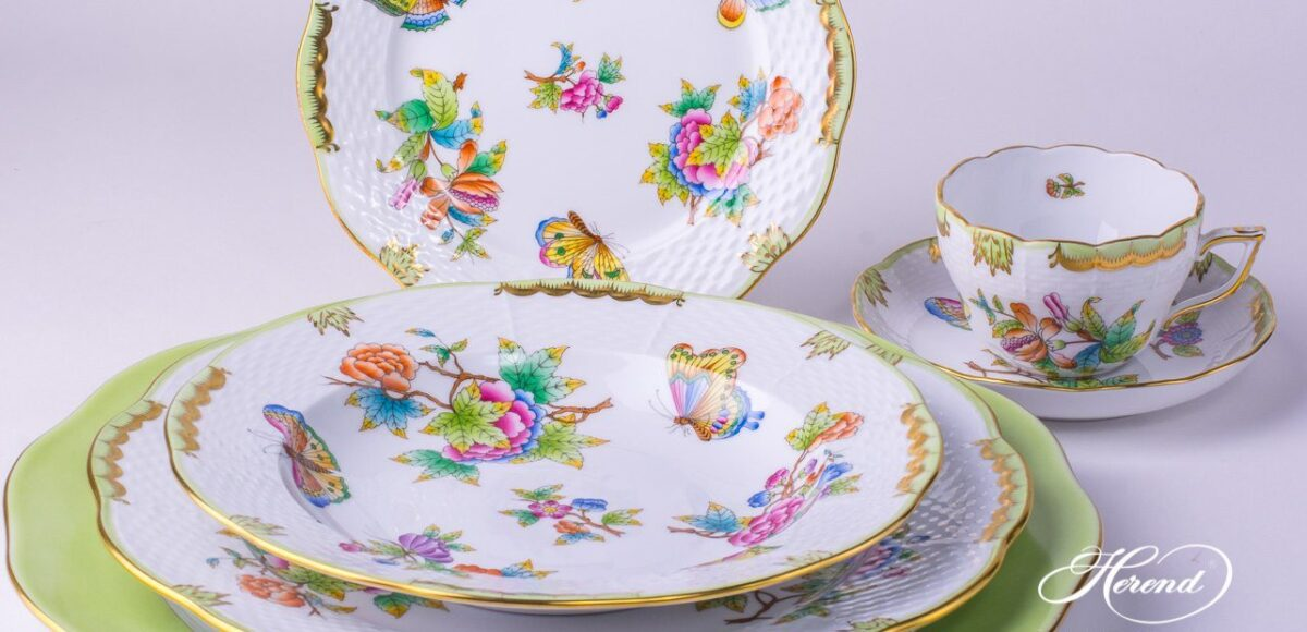 vbo-place-setting-vbo-place-setting-Herend porcelainPlace Setting 6 Pieces- Herend Queen Victoria VBO design.