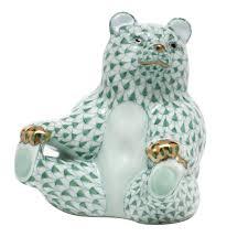 05736-0-00 Fishnet Green VHV Bear Holding Feeet Animal Figurine