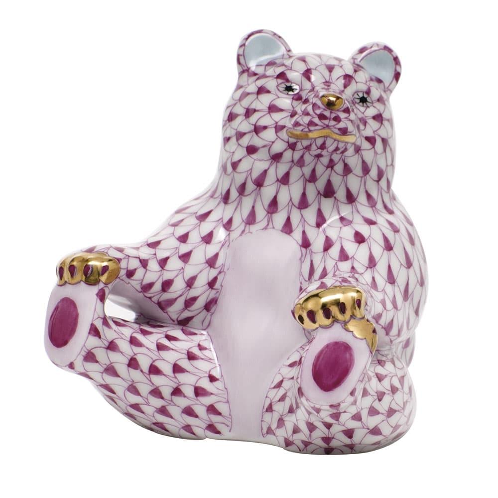 05736-0-00 Fishnet Pink VHP Bear Holding Feeet Animal Figurine