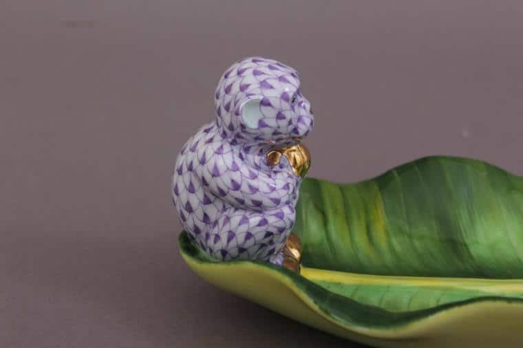 herend-monkey-on-banana-leaf-figurine-PURPLE