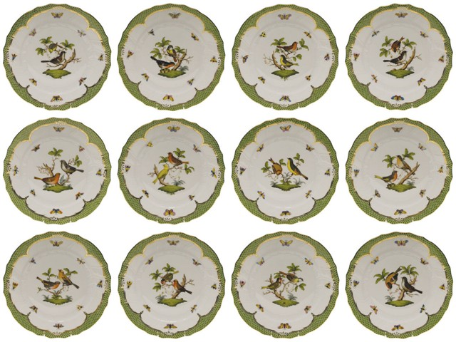 12 versions of Herend Rothschild Bird Dinnerware