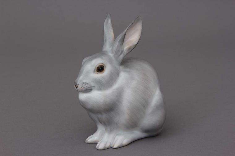 15305-0-00 CD Rabbit, sitting - CD Natural Herend Animal Figurines - Natural painting - with glazed finish - Bunny Rabbit Collection