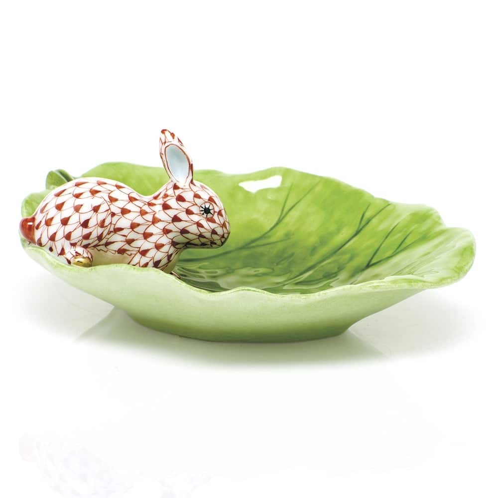 Herend Bunny on Cabbage Leaf Dish Rust Fishnet