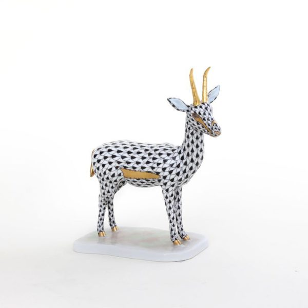 Herend Cuviers Gazelle Animal Figurine Fishnet BLACK