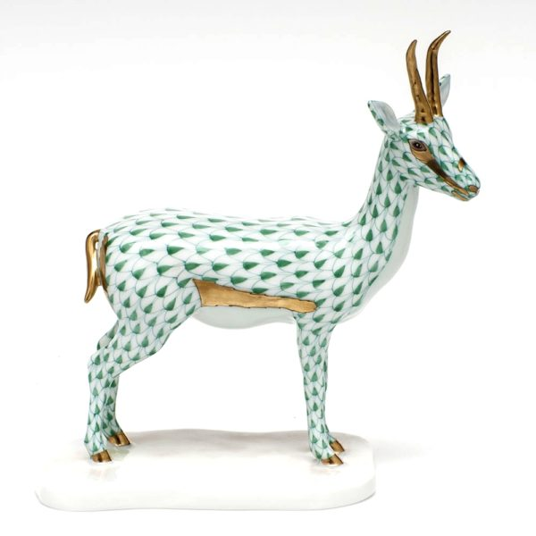 Herend Cuviers Gazelle Figurine Green Fishnet