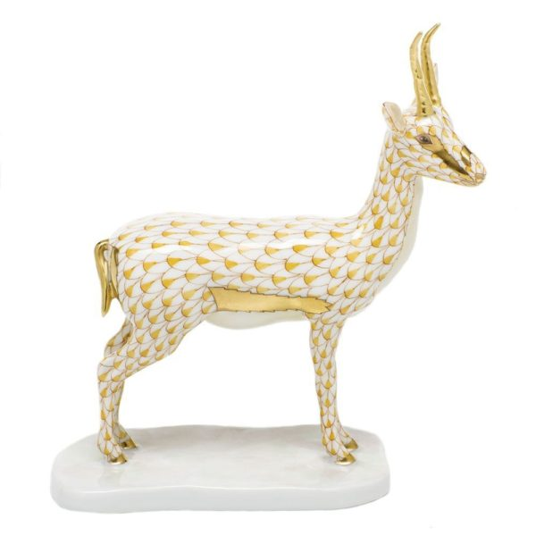 Herend Cuviers Gazelle Figurine Butterscotch Fishnet From the Endangered Species Collection the Cuviers Gazelle is the third in the series and is looking for a new home! Enhanced by accents of 24k gold. All hand painted designs by master artisans.