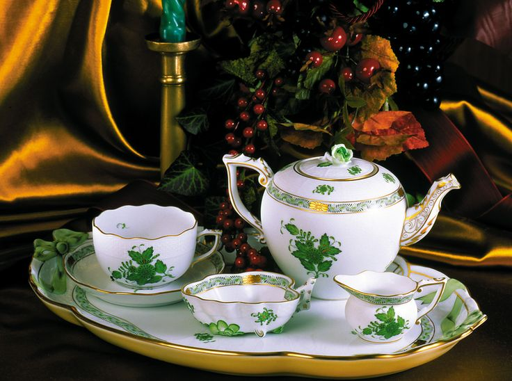 Herend Porcelain Chinese Bouquet Green Tea Set