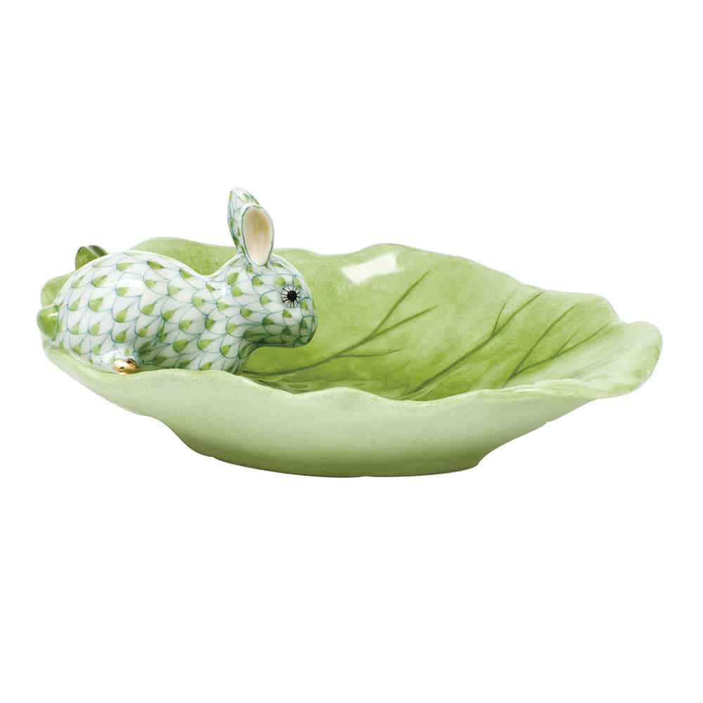 Herend Bunny on Cabbage Leaf Dish Green Fishnet