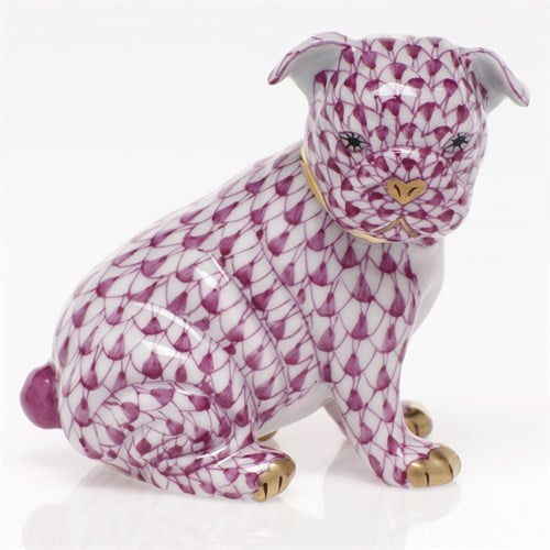 "Herend Bulldog Puppy Figurine - Fishnet Colors New for 2019.  Herend porcelain from Hungary, handmade and handpainted with 24K gold accents.  2 ½"" x 1 ⅜"" x 2 ¼"" h."