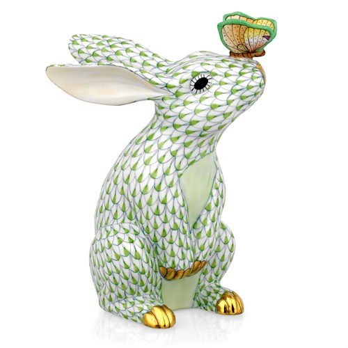05728-0-00 VHV - Fishnet Key Lime Green Bunny with Butterfly on Nose