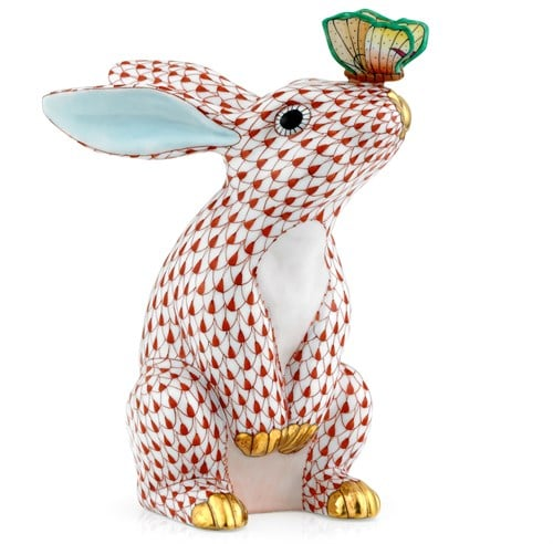 Herend Bunny with Butterfly on Nose Fishnet Rust