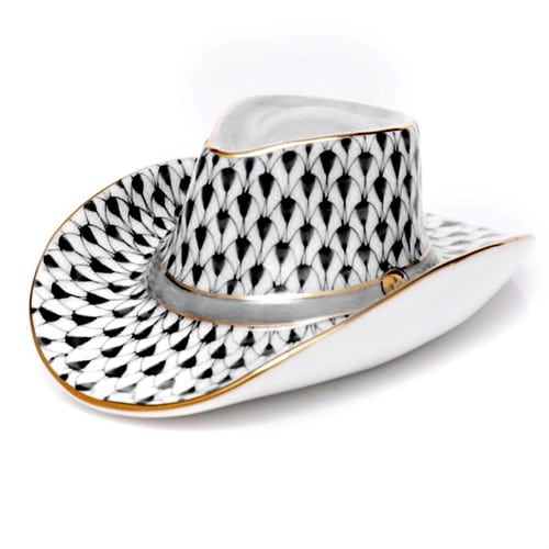 "Herend Cowboy Hat - Fishnet Colors Herend porcelain from Hungary, handmade and handpainted with 24k gold accents. Makes for the perfect home decor piece or gift for that special someone! Measures 3 ¼"" l x 1 ¼"" h"