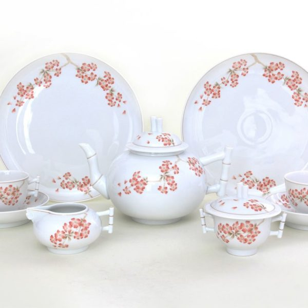 herend porcelain cHERRY BLOSSOM Pattern CERI G Limited teaset for two, Limited edition 100 pcs.