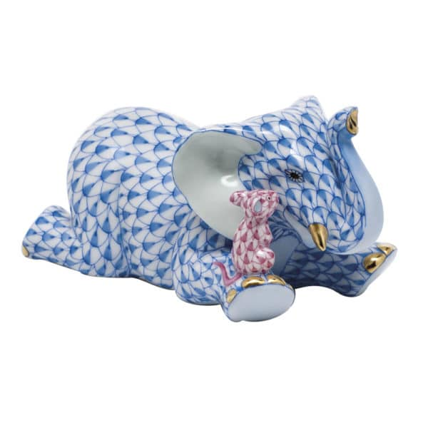 Herend Fishnet Blue and Raspberry Fishnet Figurine - Fast Friends Elephant