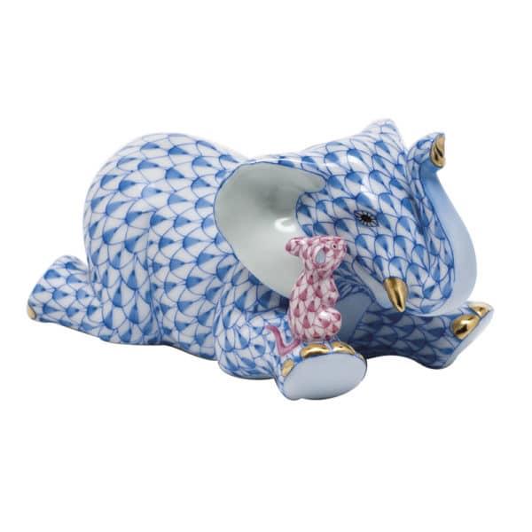 Herend Fishnet Blue and Raspberry Fishnet Figurine - Fast Friends Elephant