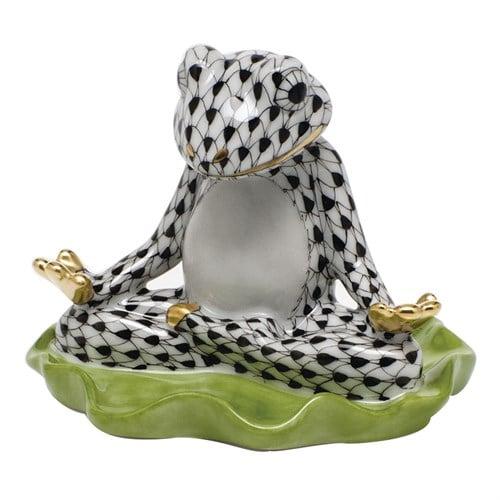 yoga-frog-black fishnet figurine