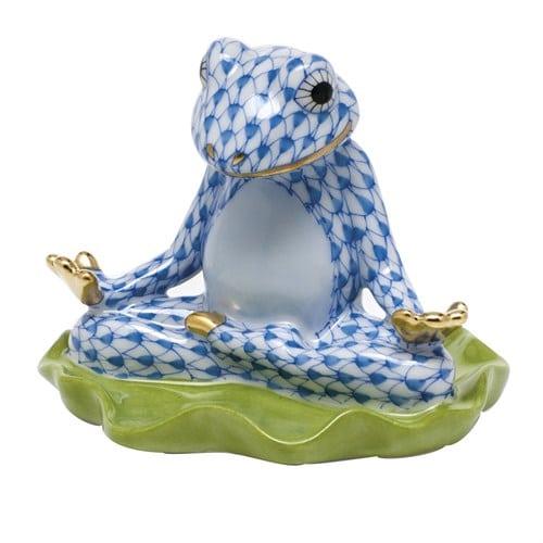 yoga-frog-blue fishnet figurine