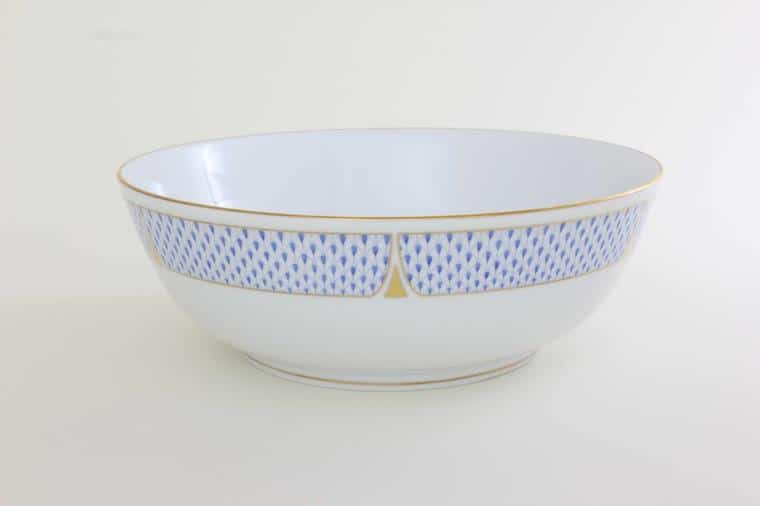 Herend Porcelain Fishnet Blue Bowl 02325-0-00 VHNKB