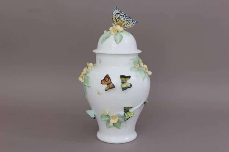 Masterpiece Butterfly Vase with 3D decoration Unique masterpiece decorated with various 3d butterfly figurines - one of a kind piece 06572-0-93 CD
