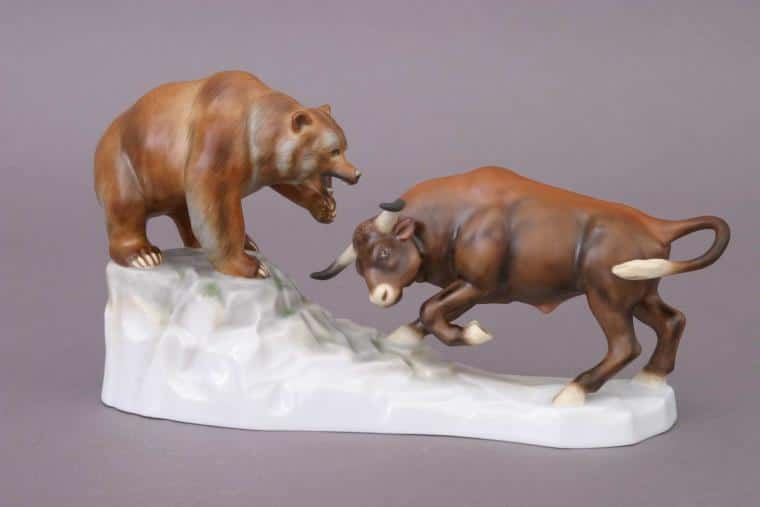 15876-0-00 MCD Bull and Bear Animal Figurine Matt Natural