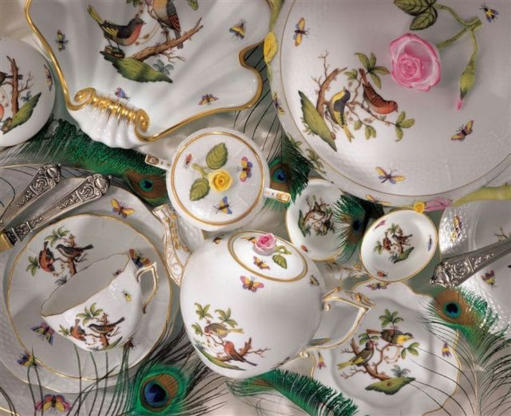 Herend Rothschild Bird Decor Assorted Tableware