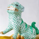 Herend-red-foo-dog green fishnet