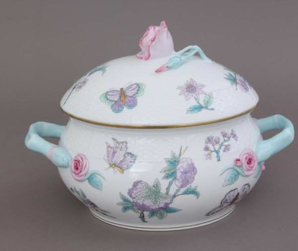 00008-0-09 EVICT2 Soup tureen, rose knob - Royal Garden Turquoise Harry & Meghan Content: 3 liters