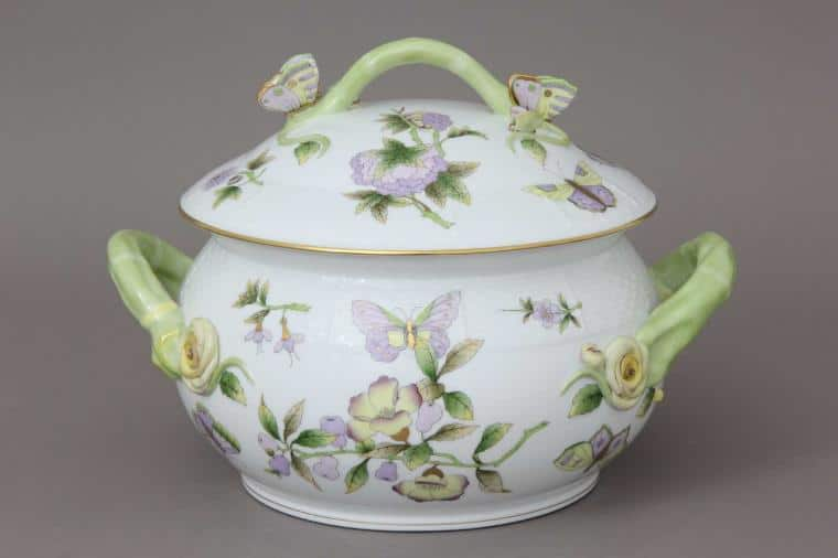 00022-2-02 EVICT1 Royal Garden by Herend Soup Tureen Butterfly Knob 4 QT William & Catherine