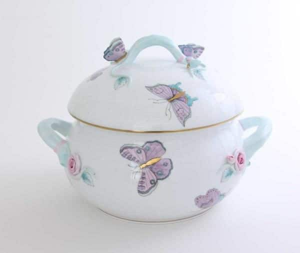 00023-0-17 EVICTP2 The Royal Garden Turquoise design is a modern variant of the classic Queen Victoria pattern. Designed for the Royal Wedding of Harry & Meghan Markle Royal Garden design painted with Peony flowers and Butterflies.