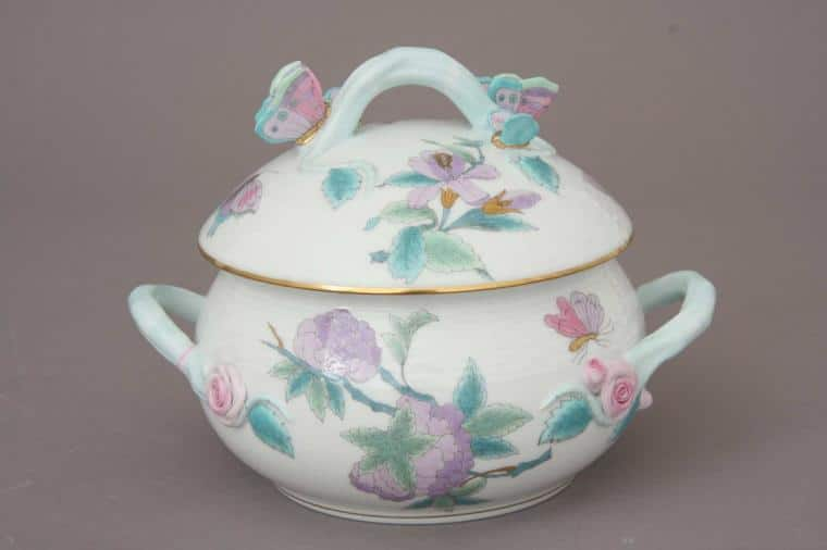 Soup tureen, butterfly knob - Royal Garden Turquoise 1L 00025-0-17 EVICT2